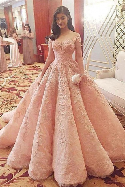 Glamorous Sequins Off-the-Shoulder Lace Appliques Prom Dresses | Ball Gown Cap Sleeves Evening Dresses