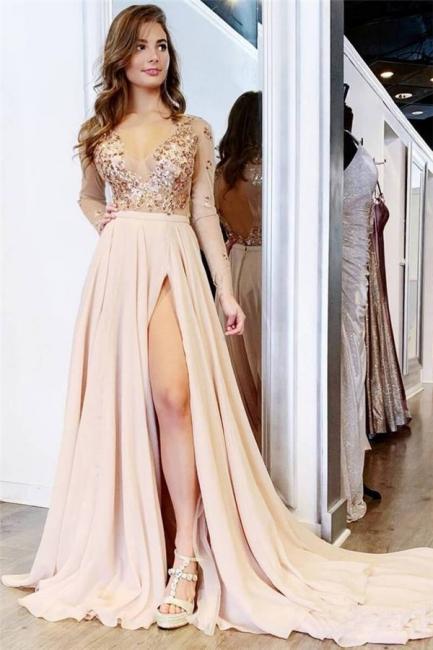 Glamorous Sequin V-Neck Lace Appliques Crystal Prom Dresses | Side slit Longsleeves Evening Dresses