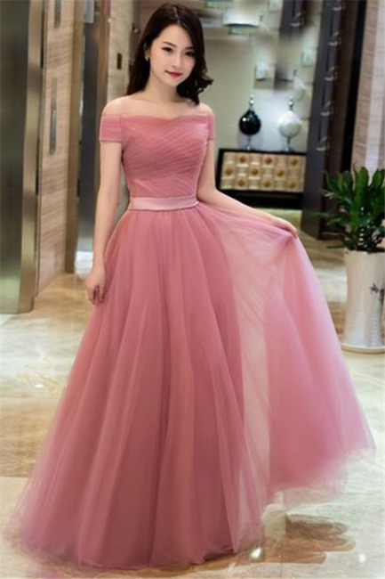 Romactic Pink Off-the-Shoulder Ruffles Prom Dresses Tulle Sleeveless Sexy Evening Dresses with Belt