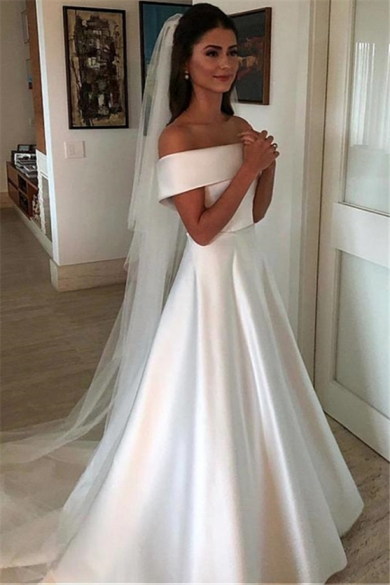Gorgeous Off-the-Shoulder Wedding Dresses | Bowknot Ribbons Sleeveless Floral Bridal Gowns