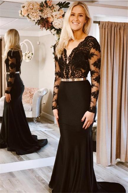 Elegant Black Sleeved Lace Applique Long Trumpet Prom Dresses | Suzhou UK Online Shop