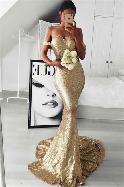 Gold Sequins Off-the-Shoulder Prom Dresses Sleeveless Mermaid  Sexy Evening Dresses