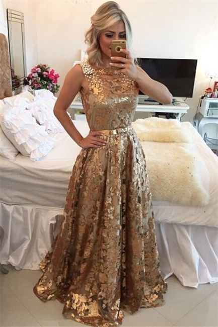 Glamour Gold Straps Beaded Sequins Summer Sleeveless Prom Dress   Suzhou UK Online Shop