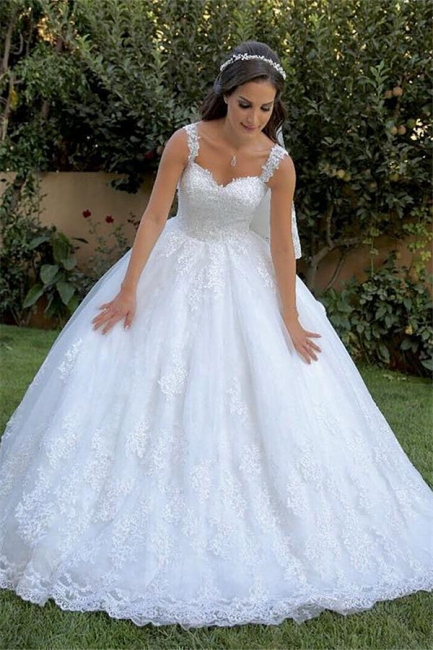 Gorgeous Appliques Straps Wedding Dresses | Sleeveless Mermaid Ball Gown Floral Bridal Gowns