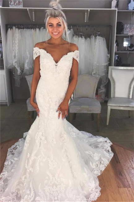 Gorgeous Appliques Off-the-Shoulder Wedding Dresses | Sheer Sleeveless Floral Bridal Gowns