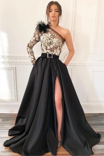 Sexy Blcak One-Shoulder Side-Slit Feather Applique Prom Dress | Suzhou UK Online Shop