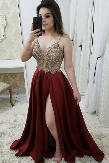 Glamorous Beads Spaghetti-Strap Lace Appliques Prom Dresses | Side slit Sleeveless Evening Dresses