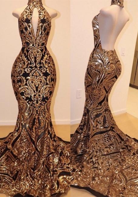 Halter Keyhole Neckline Sequins Appliqued Trumpet Prom Dresses | Suzhou UK Online Shop