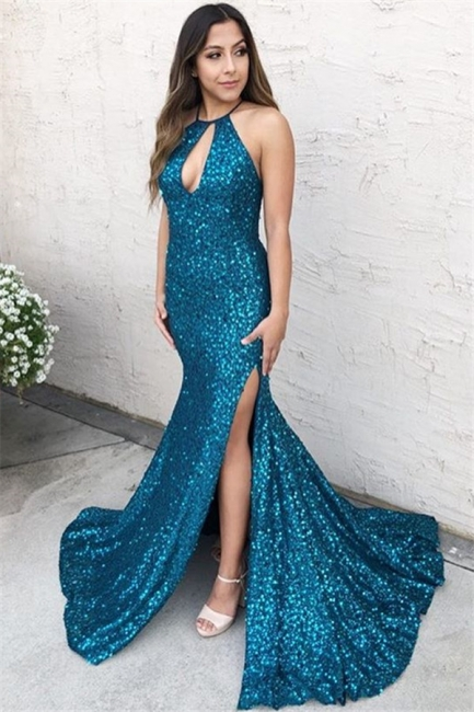 Amazing Blue Halter Sequins Side-Slit Criss-Cross Trumpet Prom Dress | Suzhou UK Online Shop