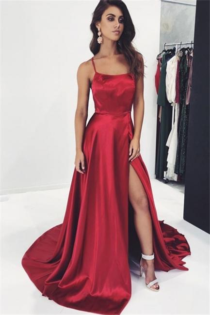 Sexy Wine Red Spaghetti-Straps Side-Slit Princess A-line Prom Dress | Suzhou UK Online Shop