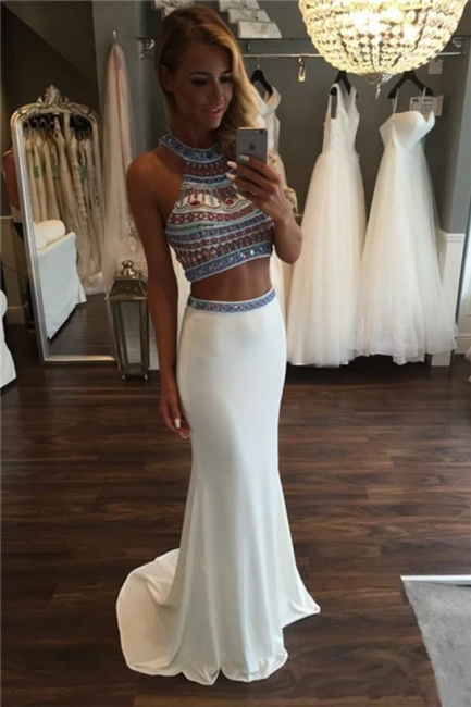 Halter Crystal Two Piece Prom Dresses Mermaid Sleeveless Sexy Evening Dresses