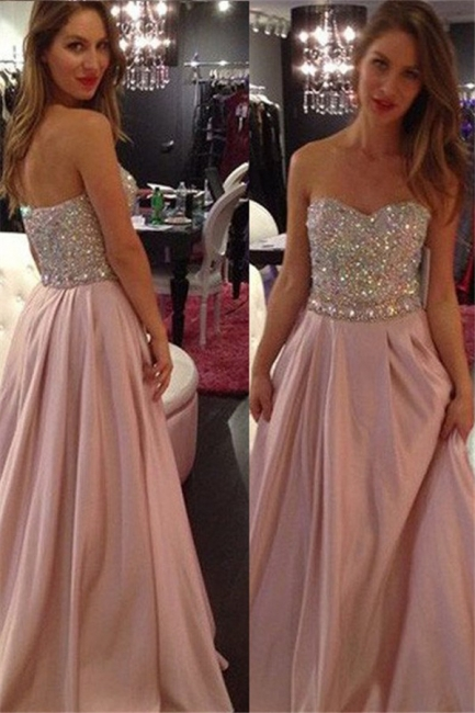 Sweetheart Crystal Prom Dresses | Fashion Pink Sleeveless Evening Dresses