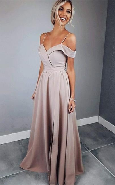 Glamorous Spaghetti Strap Prom Dresses Sleeveless Side Slit Sexy Evening Dresses