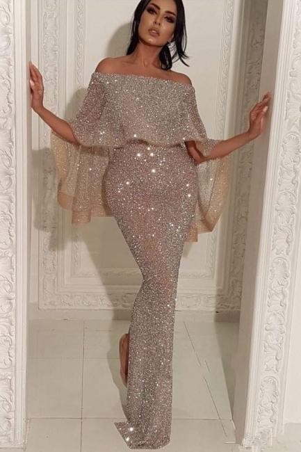 Shiny Off-the-shoulder Long Trumpet Sequins Prom Dresses | Suzhou UK Online Shop
