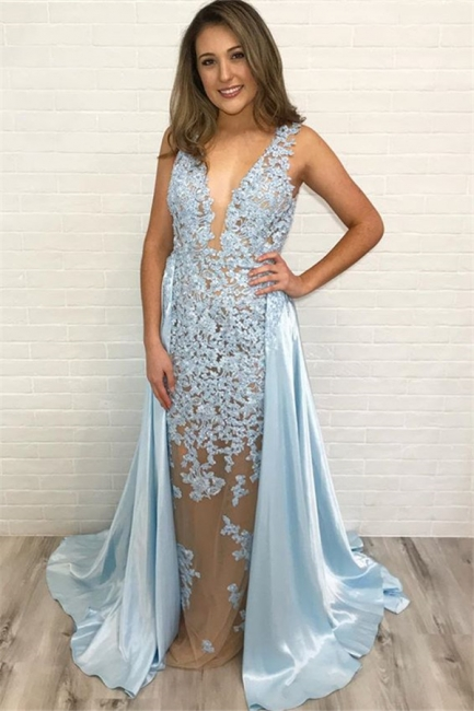 Elegant Blue Detachable Straps Lace Summer Sleeveless Trumpet Prom Dress | Suzhou UK Online Shop