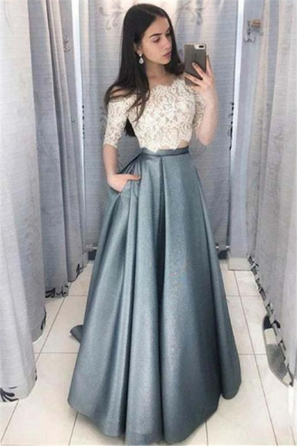 Glamorous Lace Appliques Off-the-Shoulder Prom Dresses | Two Piece Sleeveless Evening Dresses with Pocket