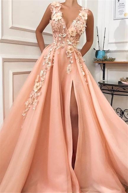 Glamour Straps Sexy Low Cut Flower Appliques Princess A-line Prom Dress | Suzhou UK Online Shop