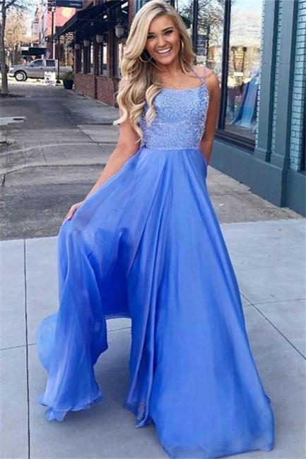 Glamorous Blue Sequins Halter Prom Dresses Sleeveless  Sexy Evening Dresses