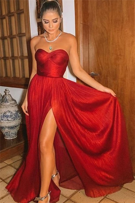Sexy Wine Red Strapless Side-Slit Princess A-line Long Prom Dresses | Suzhou UK Online Shop