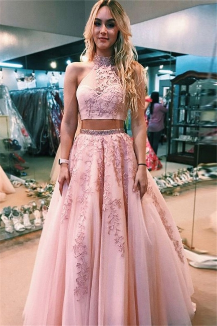 Glamorous Lace Appliques Halter Two Piece Prom Dresses | Open Back Sleeveless Evening Dresses with Beads