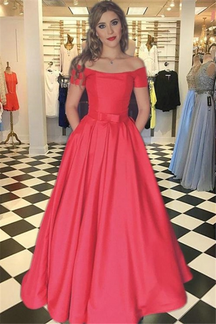 Glamorous Red Prom Dresses Bateau Off-the-Shoulder Sexy Evening Dress with Belt