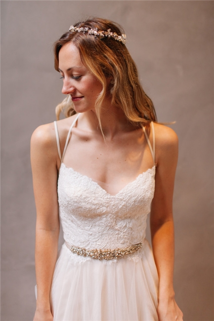Gorgeous Lace Crystal Spaghetti-Strap Wedding Dresses | Sheer Lace Up Sleeveless Floral Bridal Gowns