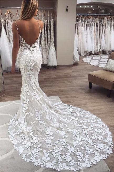 Elegant Mermaid Sleeveless Applique Spaghetti-Strap Wedding Dresses | Bridal Gowns On Sale