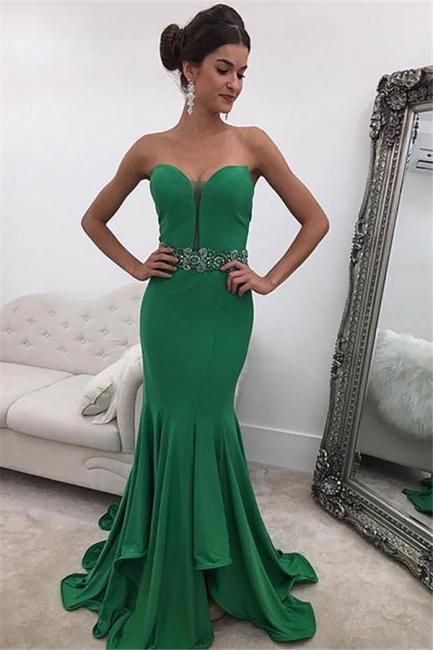 Green Sweetheart Crystal  Prom Dresses | Ruffles Sexy Mermaid Sleeveless Evening Dresses