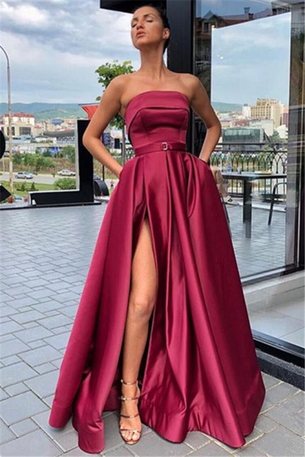 Wine Red Strapless Side-Slit Princess A-line Evening Gown | Suzhou UK Online Shop