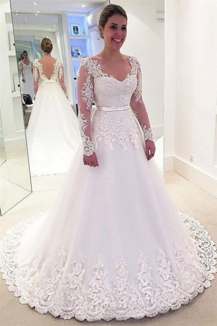 Gorgeous Appliques Wedding Dresses | Long sleeves Floral Bridal Gowns Long