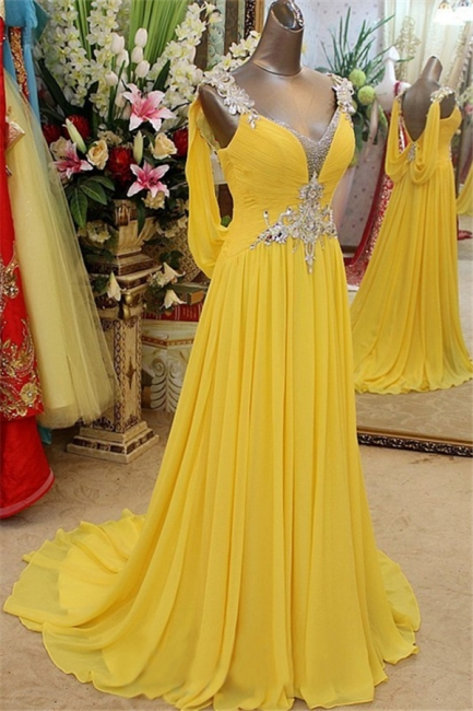 Charming Yellow Spaghetti Strap Open Back Prom Dresses | Sleeveless Lace Appliques Evening Dresses with Beads