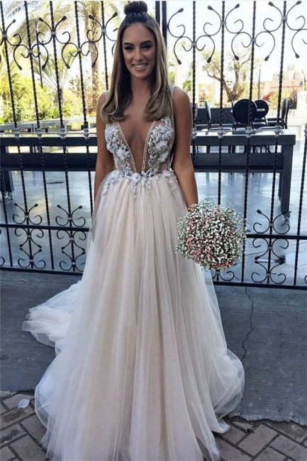 Glamorous Flower Lace Appliques V-Neck Prom Dresses | Sheer Sleeveless Evening Dresses with Crystal