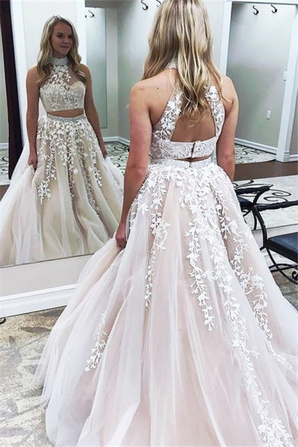 Glamorous Halter Two Piece Lace Appliques Prom Dresses   Lace Up Crystal Evening Dresses with Beads