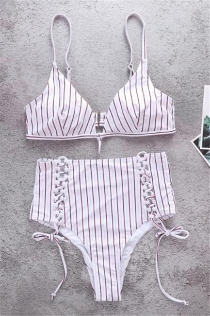 Vintage Ribbed Stripes Bra Two-piece Bikini Set