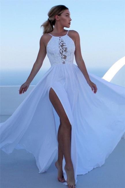 Glamorous Lace Appliques Halter Prom Dresses   Side slit Sleeveless Evening Dresses with Keyhole