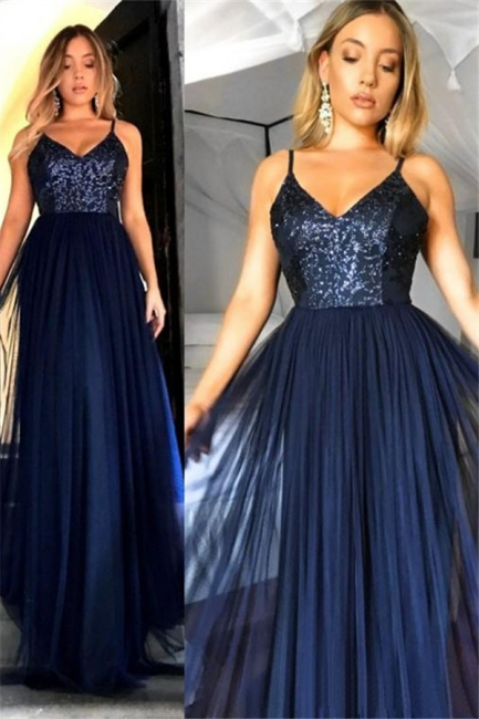 Crystal Spaghetti Strap Open Back Prom Dresses Tulle Sexy Evening Dresses with Beads