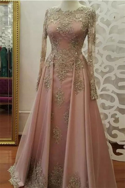 Glamorous Lace Appliques Crystal Jewel Prom Dresses | Side slit Longsleeves Evening Dresses with Beads