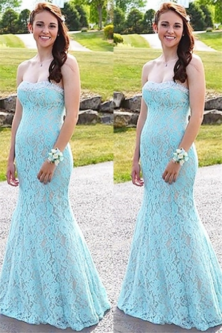 Glamorous Sweetheart Lace Crystal Prom Dresses | Sleeveless Sexy Mermaid Evening Dresses