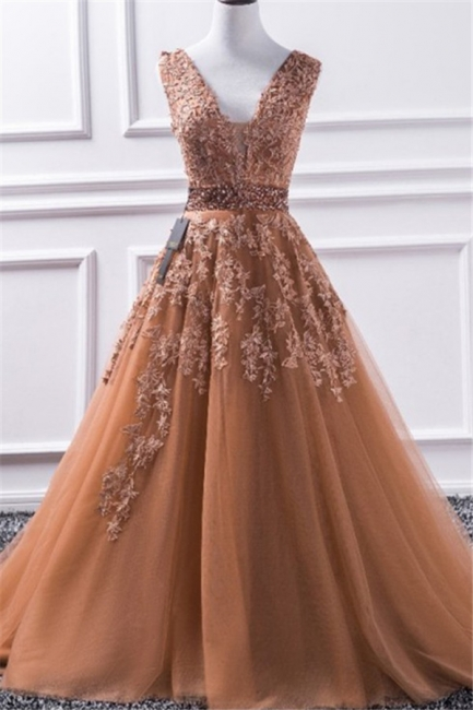 Glamorous V-Neck Applique Crystal Prom Dresses Sleeveless Tulle Sexy Evening Dresses