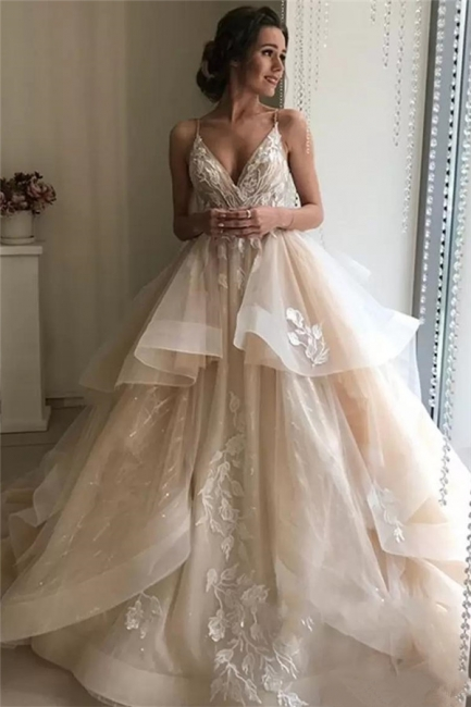 Sexy Applique TieGorgeous  Sheer Wedding Dresses | Spaghetti-Strap Sleeveless Backless Floral Bridal Gowns