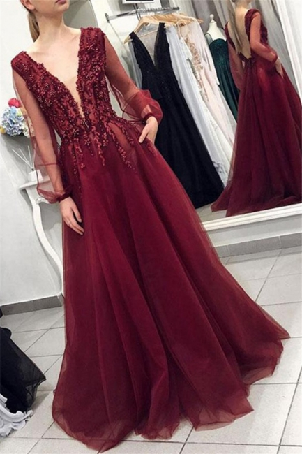 Burgundy V-Neck Long Sleeves Applique Prom Dresses Tulle Sexy Evening Dresses with Beads
