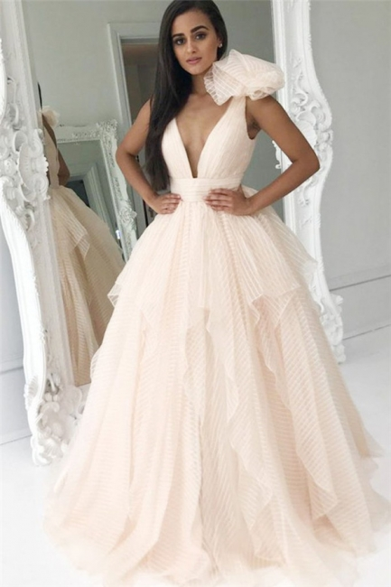 Ruffles V-Neck Bowknot Prom Dresses | Cheap Tiered Sleeveless Evening Dresses
