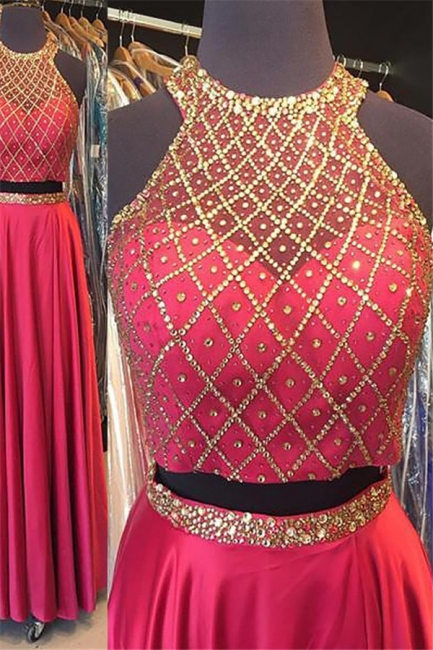 Fashion Pink Sequins Lace Appliques Crystal Halter Prom Dresses | Sleeveless Evening Dresses With Belt