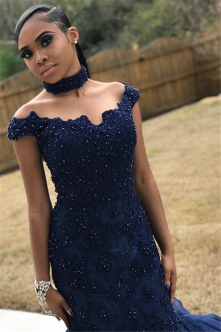 Navy Blue Off-The-Shoulder Beaded Appliques Quality Tulle Trumpet Prom Dresses | Suzhou UK Online Shop