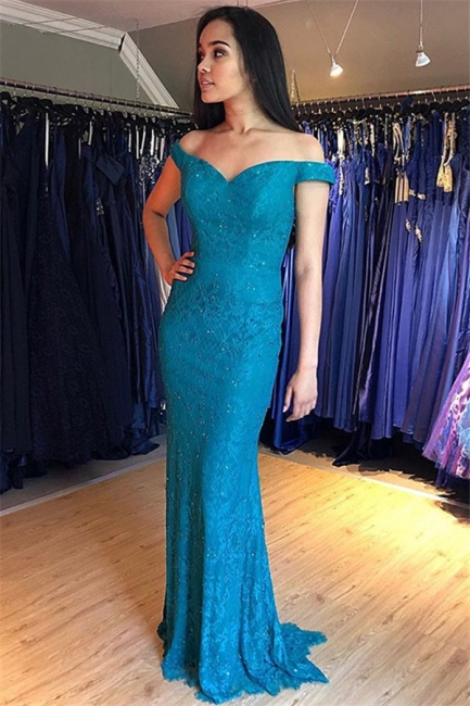 Glamorous Off-the-Shoulder Lace Prom Dresses | Sexy Mermaid Sleeveless Evening Dresses with Beads