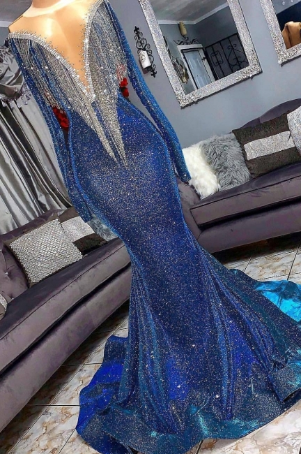Luxurious Sequins Long Sleeves Trumpet Sheer Neckline Prom Dresses | Suzhou UK Online Shop