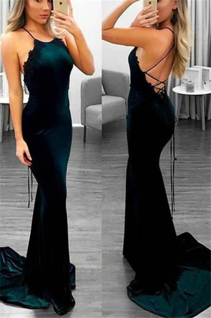 Lace Up Halter Applique Sleeveless Prom Dresses Mermaid  Popular Sexy Evening Dresses