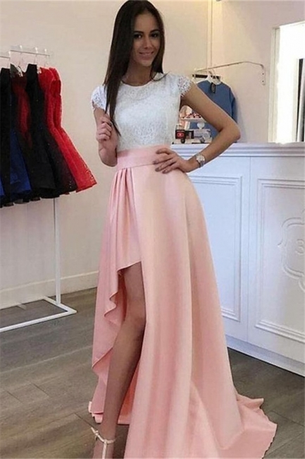 Glamorous Jewel Applique Ruffles Prom Dresses Side Slit Sleeveless Sexy Evening Dresses