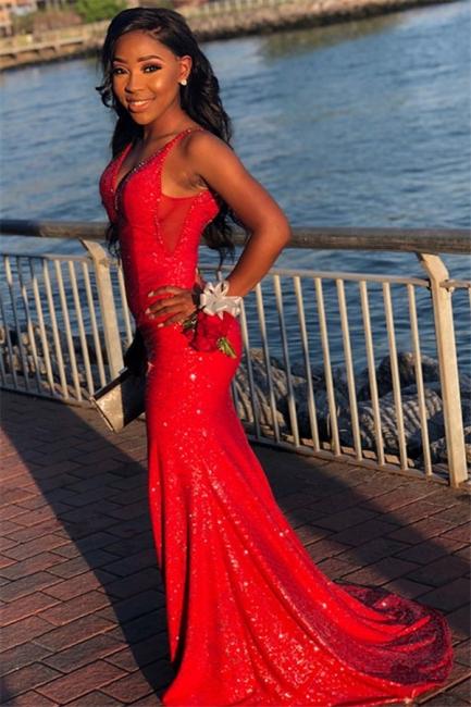 Elegant Red Sequins Trumpet Spaghetti-Straps Long Prom Dresses | Suzhou UK Online Shop