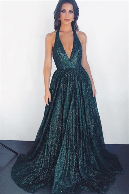 Amazing Dark Pool Halter Summer Sleeveless Princess A-line Prom Dress | Suzhou UK Online Shop